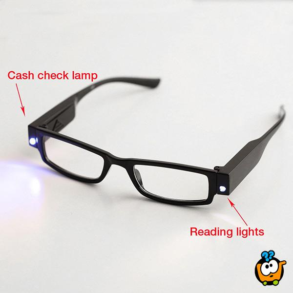 Reading glasses - Dioptrijske naočare sa led svetlima