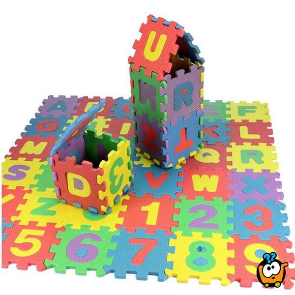 Dečije podne slagalice za igru - Brojevi i slova 36 komada 14x14 cm