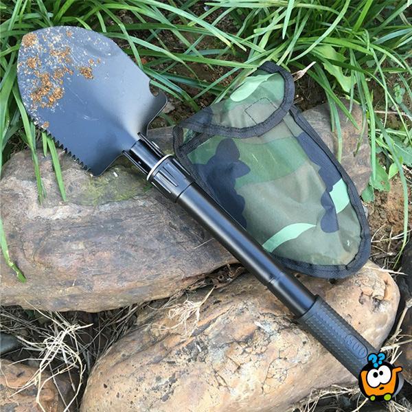 5 u 1 sklopiva alatka - ašov, budak i motika sa kompasom + otvarač flaša