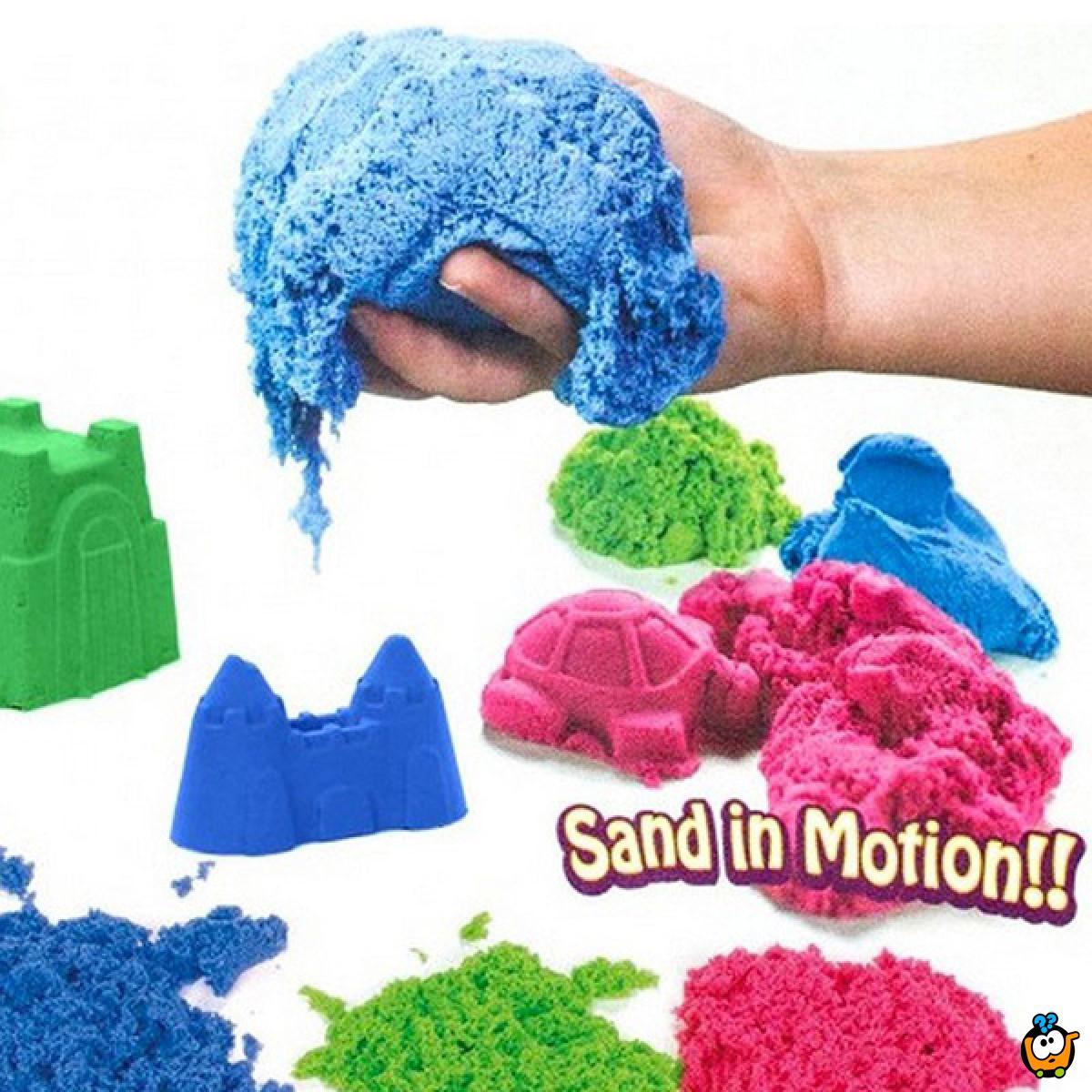 Magični kinetički pesak u boji za igru - Set od 2kg peska + Modle + Koferče