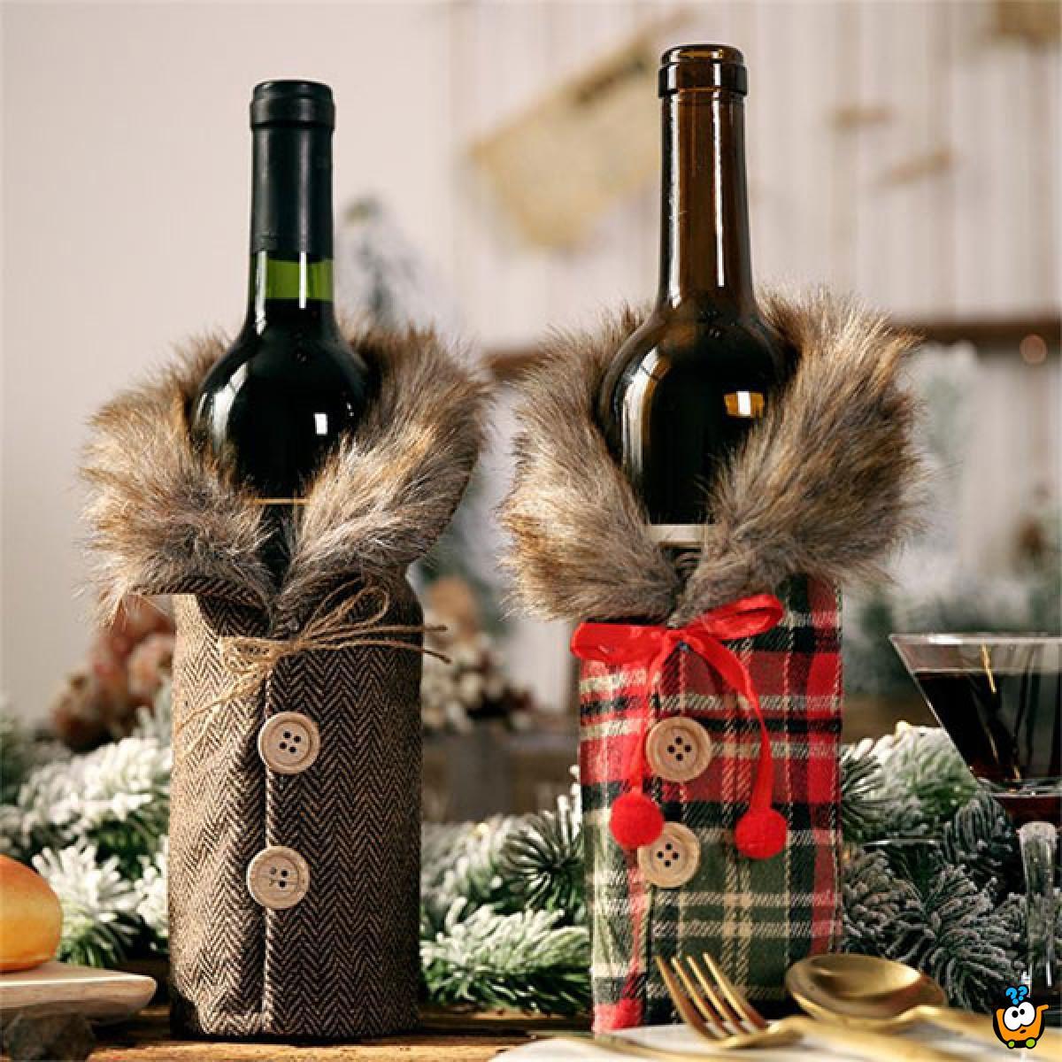 Christmas Wine - Dekorativna navlaka za vinsku flašu sa krznom