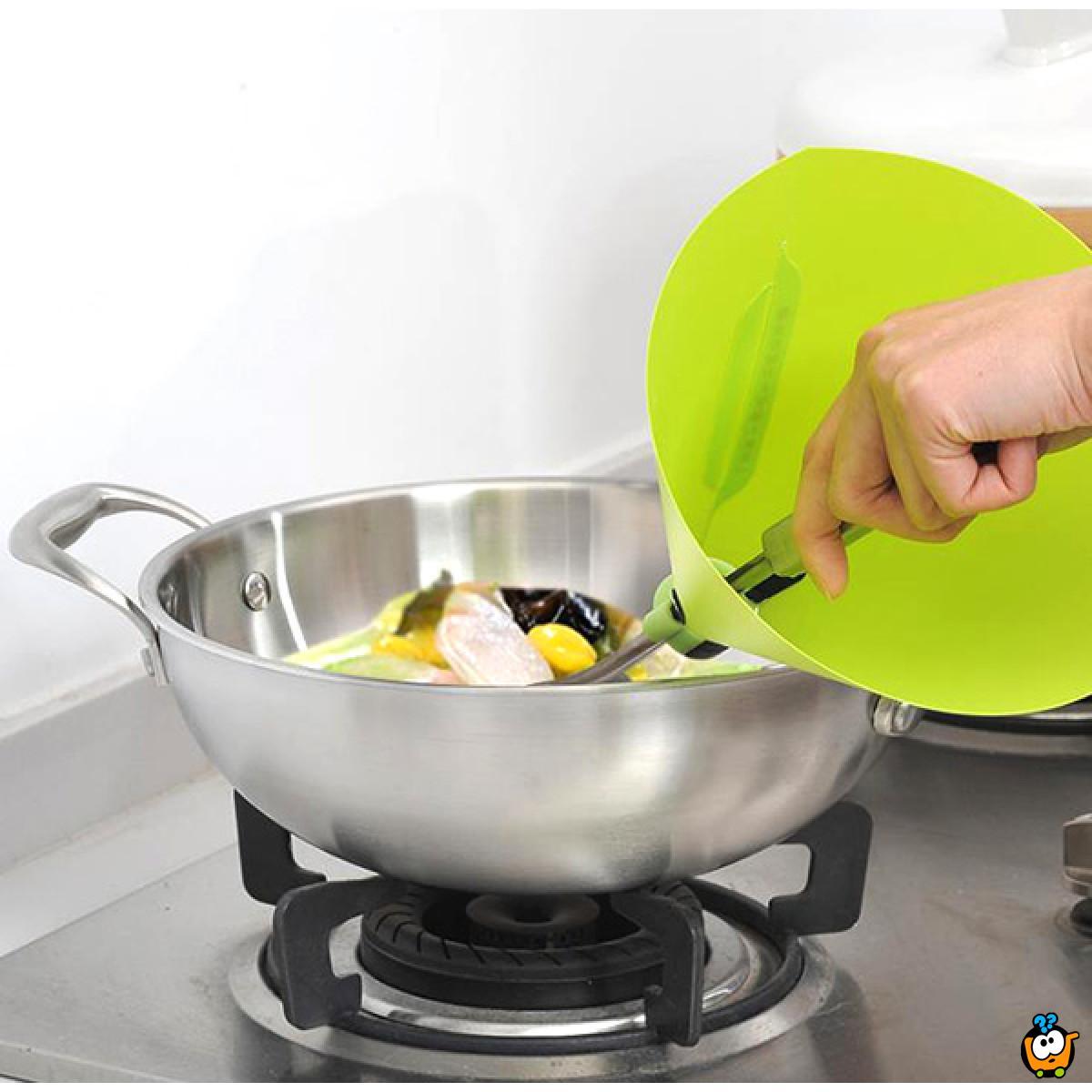 Zaštitnik ruku pri prženju hrane u obliku levka
