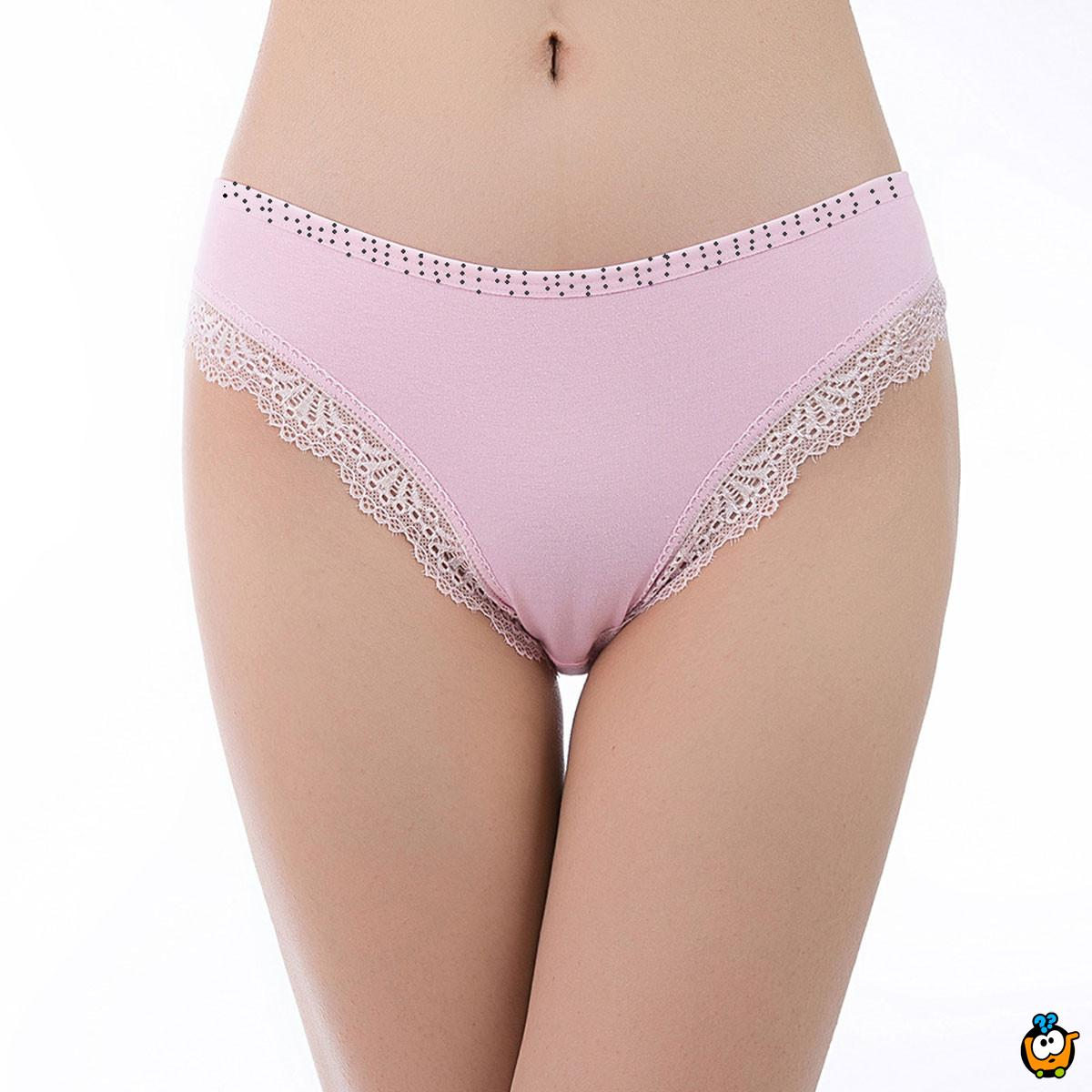 Classic Lace - Plus size ženske gaćice sa čipkom - bela boja