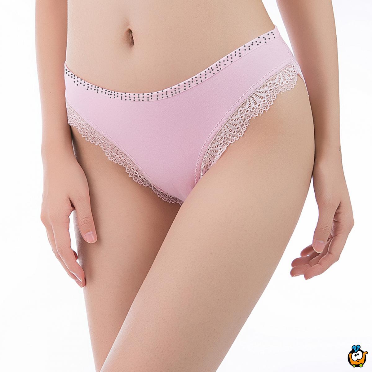 Classic Lace - Plus size ženske gaćice sa čipkom i tačkicama
