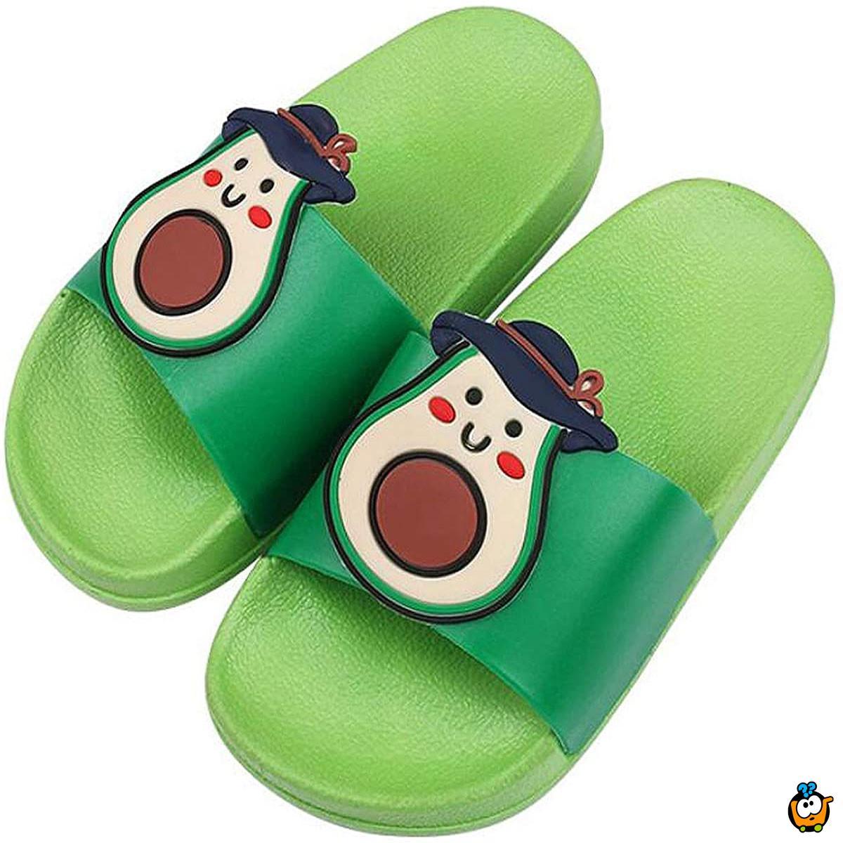 Zelene papuče za decu sa dezenom avokada