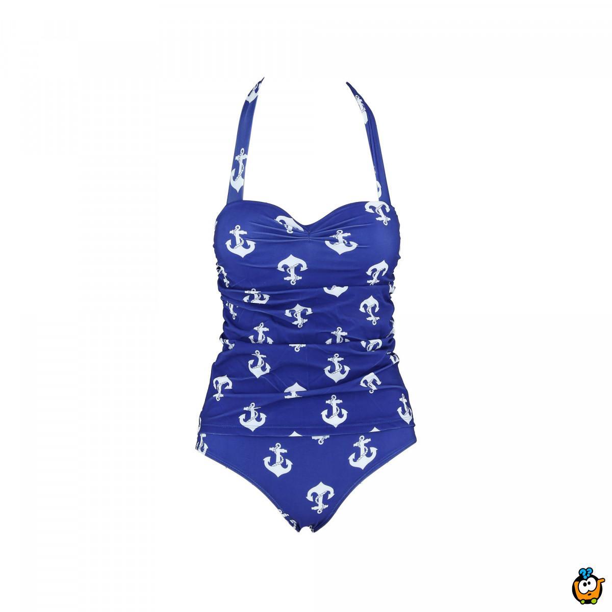 Jednodelni ženski kupaći kostim - RETRO BLUE