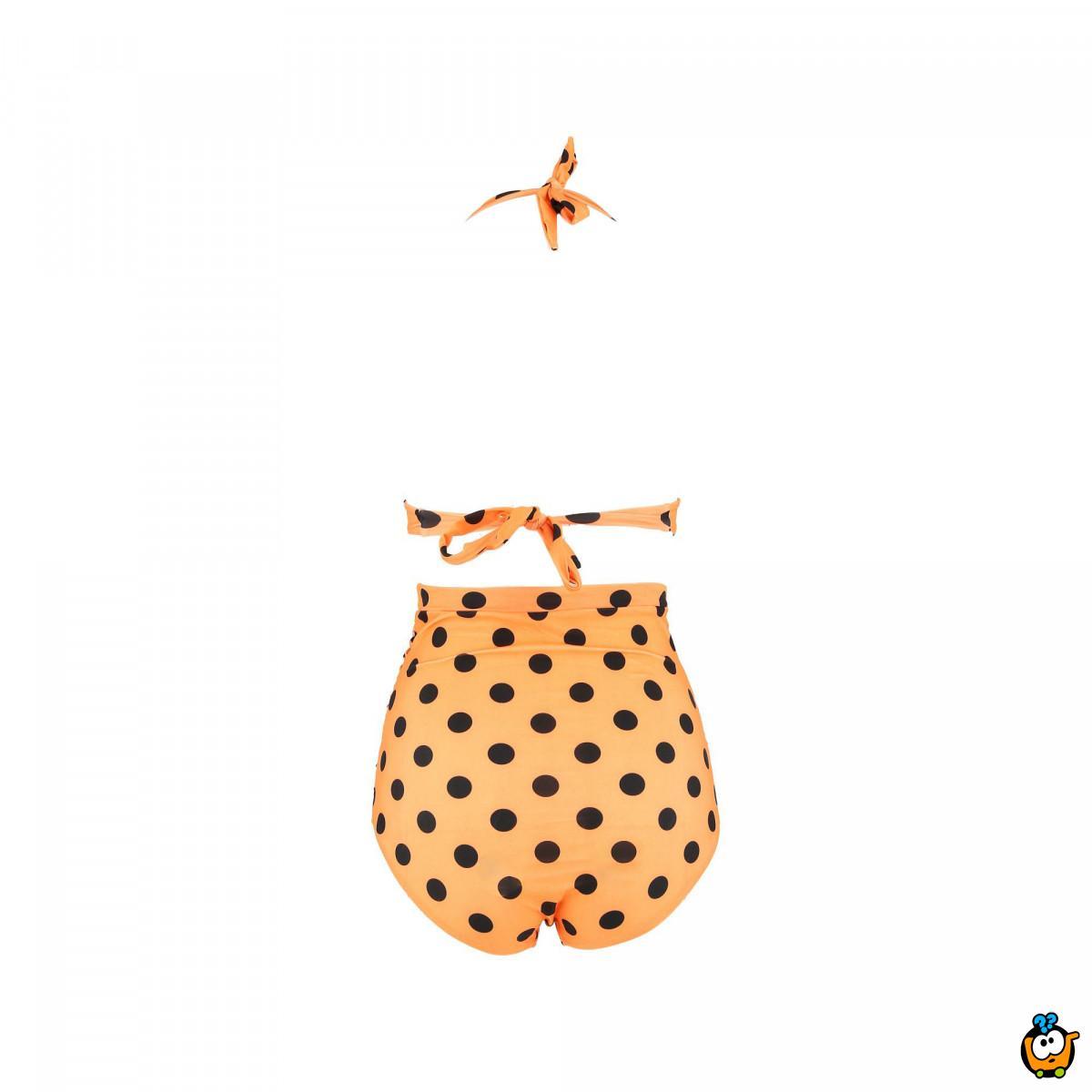 Dvodelni ženski kupaći kostim - RETRO DOT ORANGE