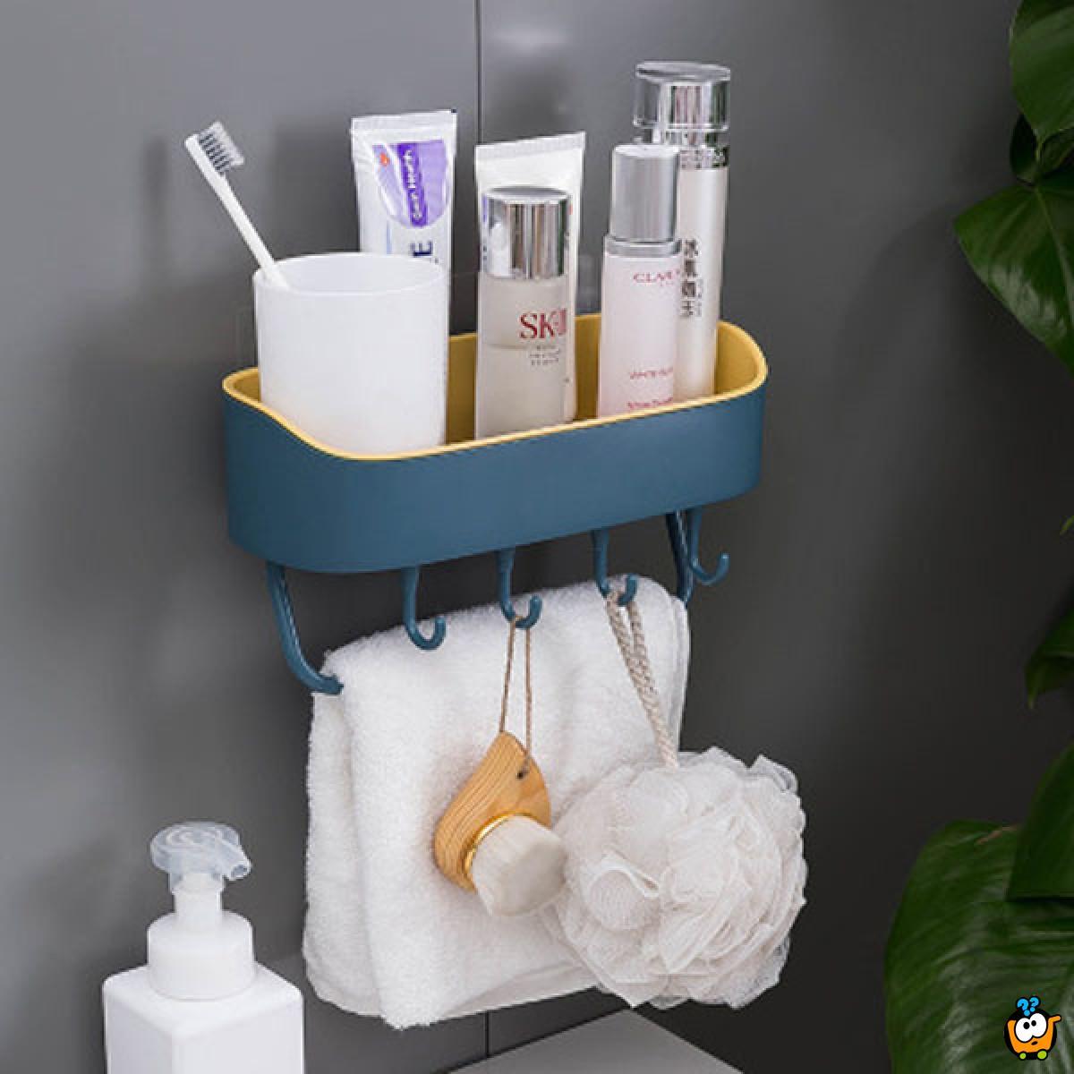 Višenamenska kupatilska polica sa kukicama