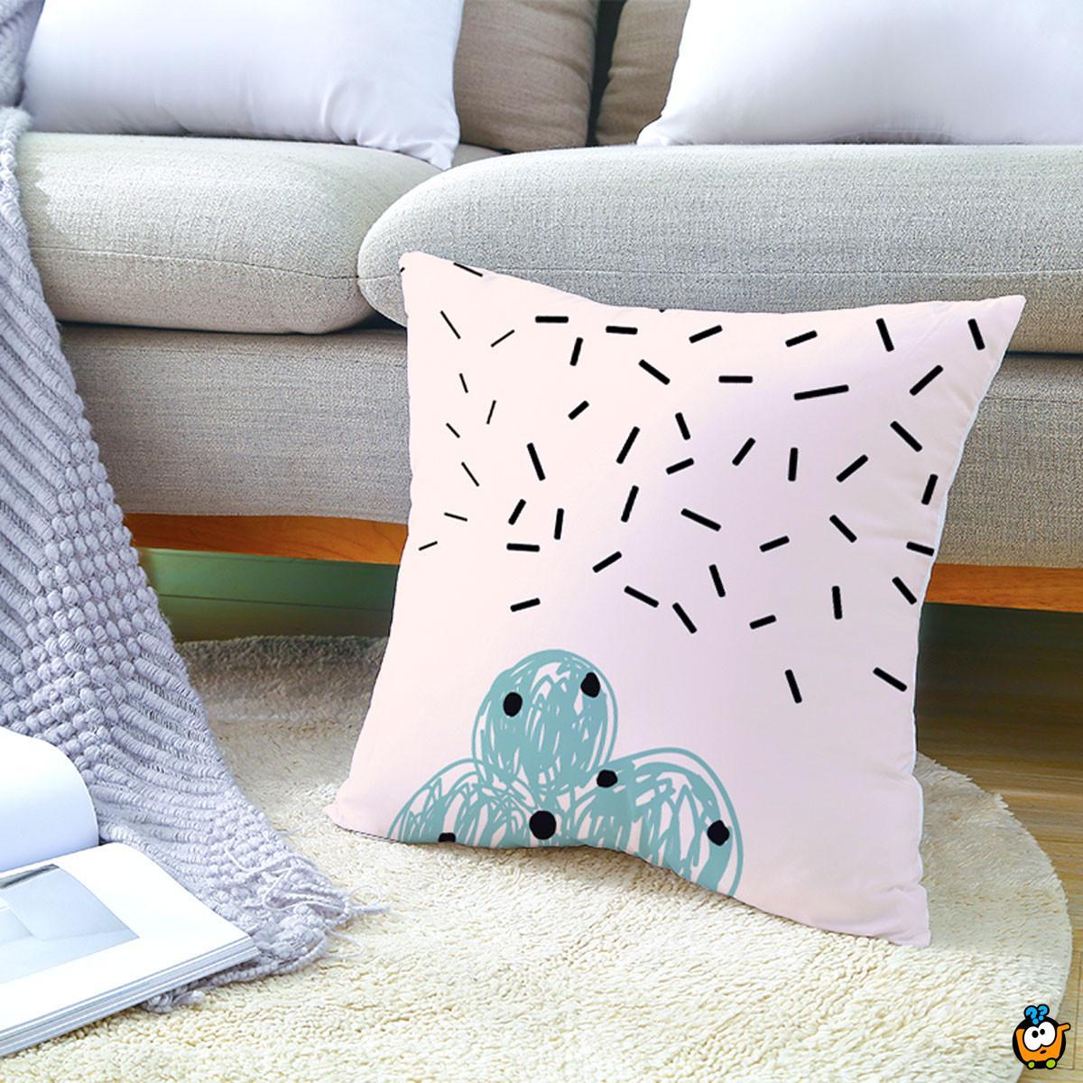 Blue Pattern Pillow - plavi dekorativni jastuk