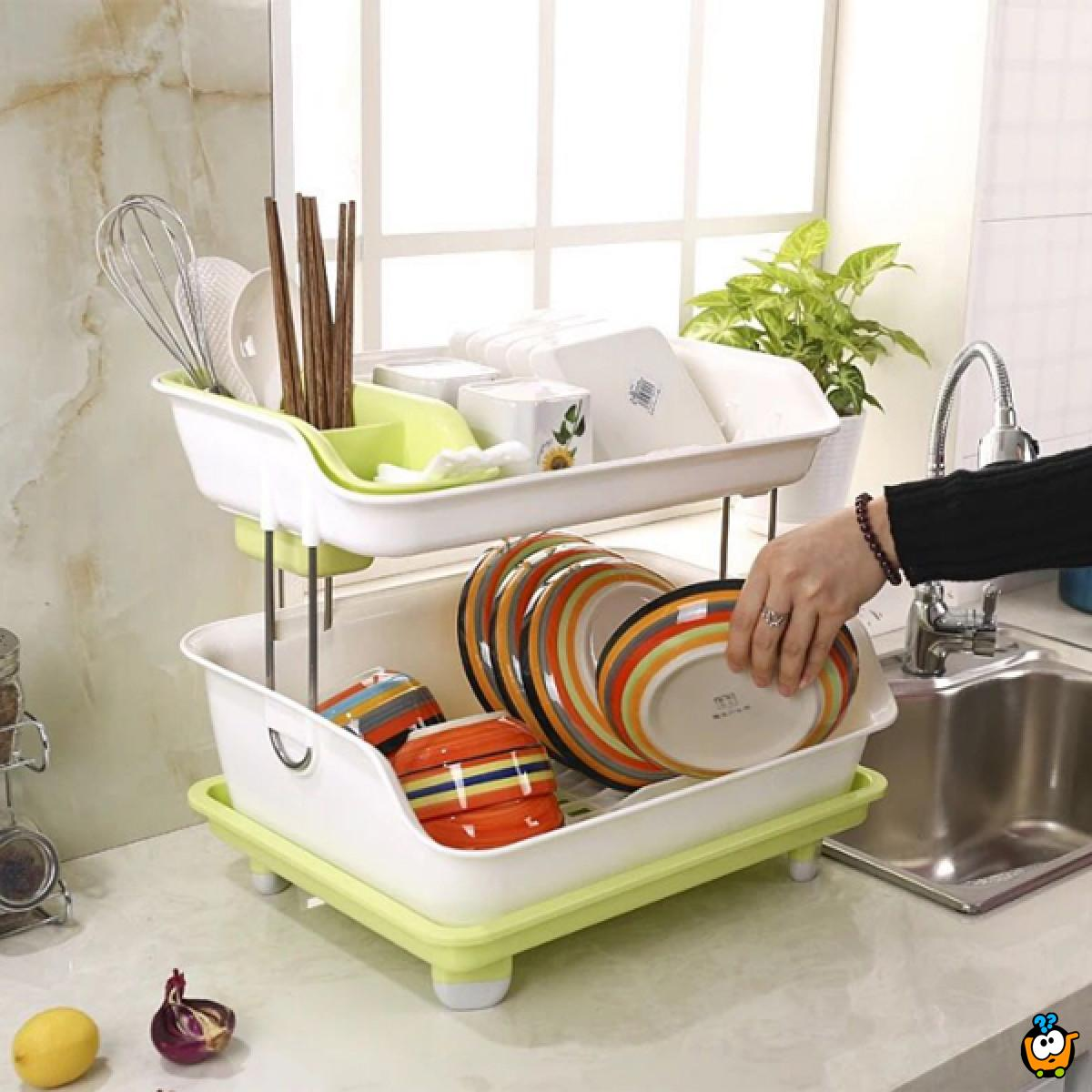 Kuhinjski stalak za posuđe na dva sprata