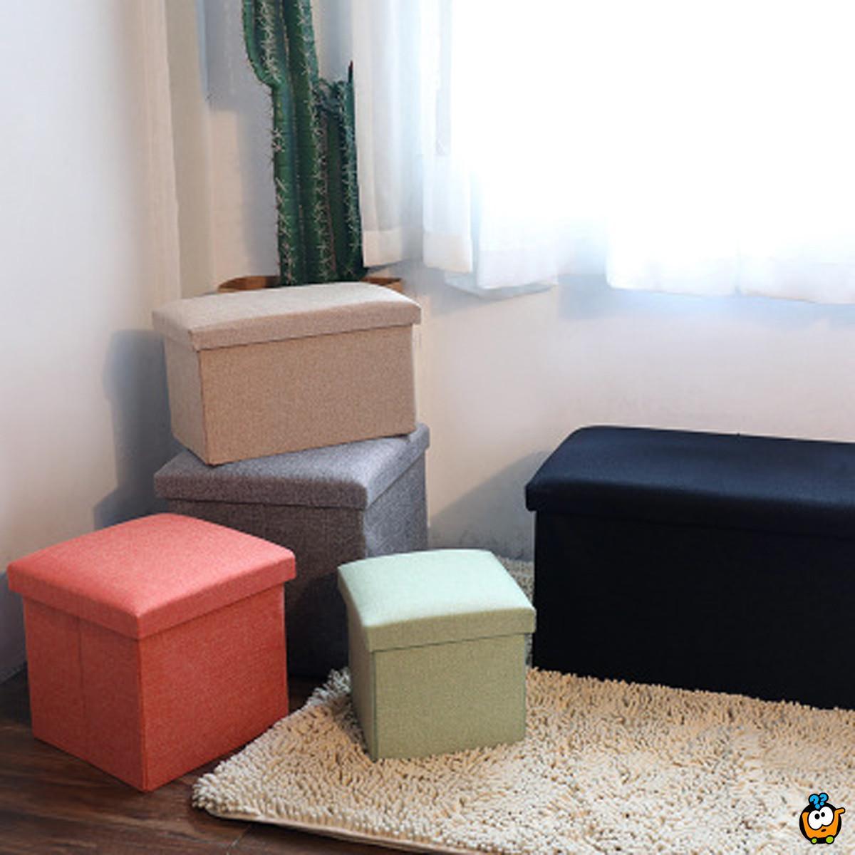 Višenamenski tabure sa prostorom za odlaganje u sivoj boji