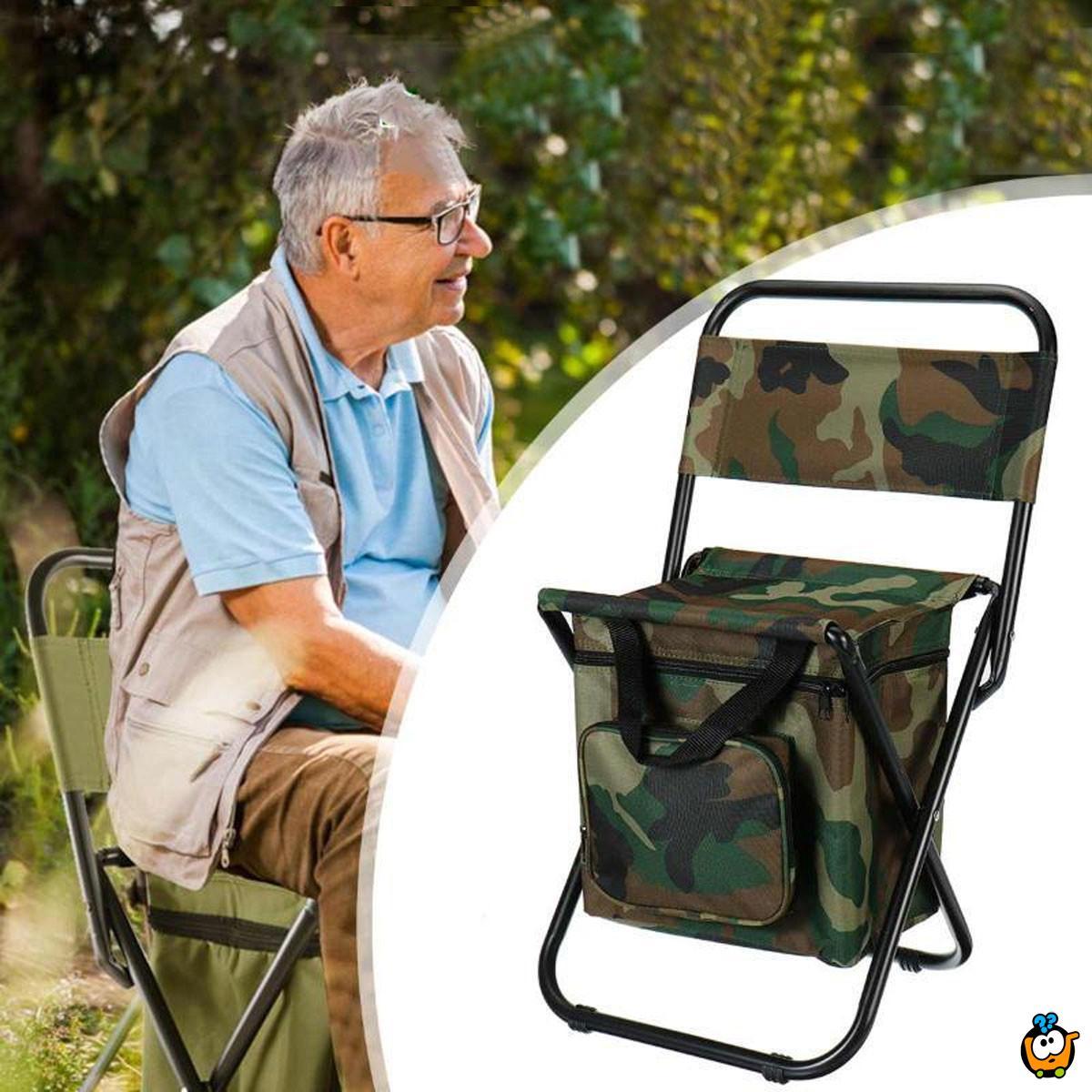 2u1 Sklopiva kamp stolica koja se sklapa u torbu