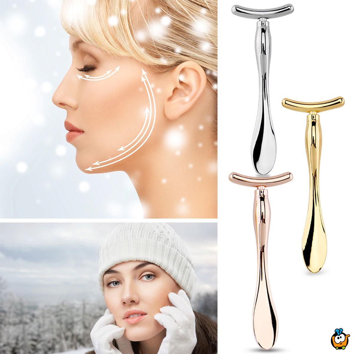 T-shape massage - Metalni masažer za negu lica