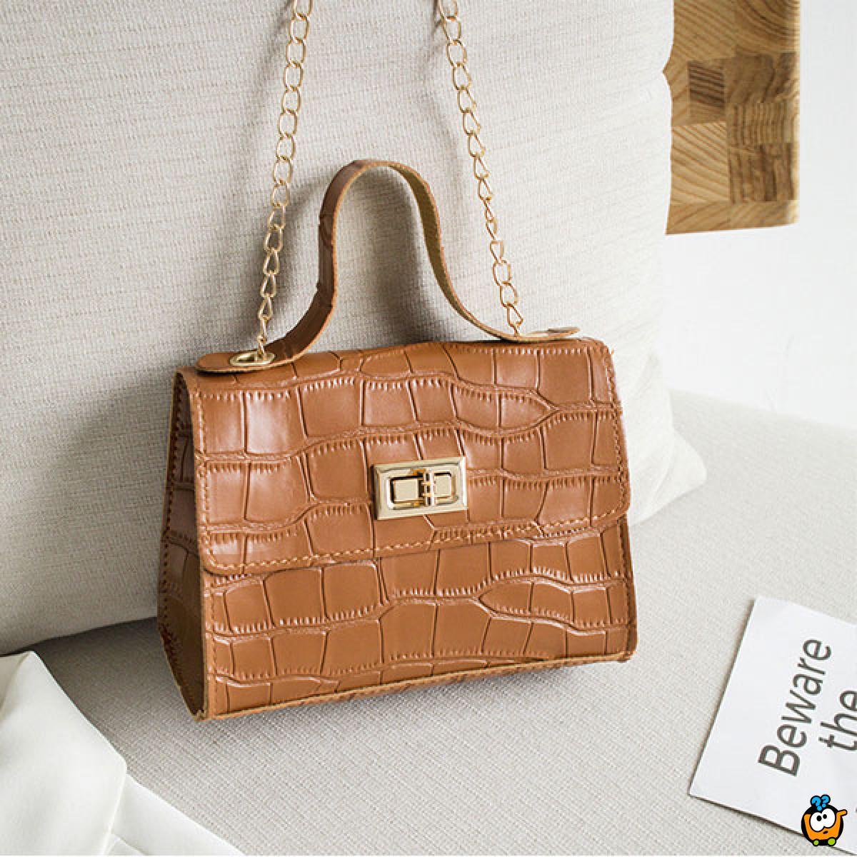 Elegantna kroko torbica sa lancem