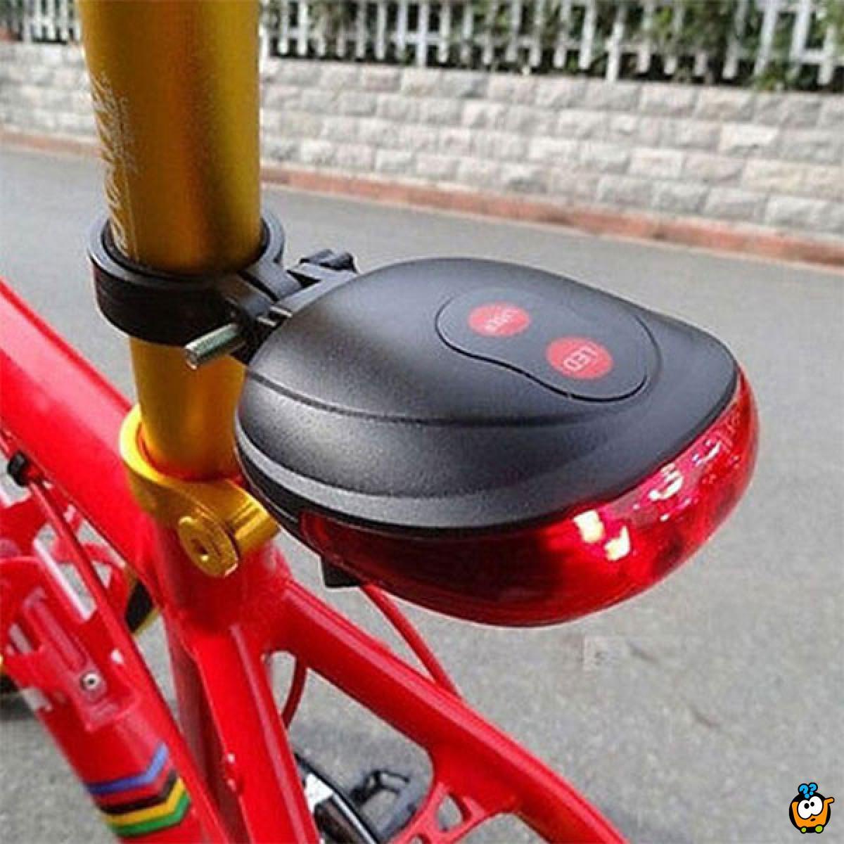 Zadnje svetlo za bicikl i dvostruki laser za odličnu vidljivost