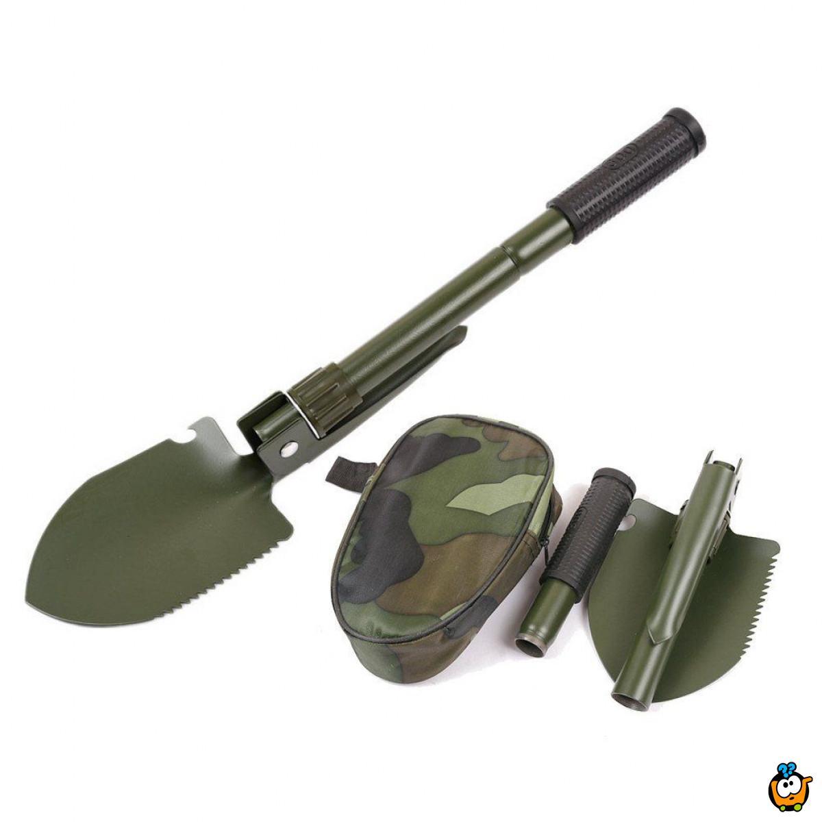5 u 1 sklopiva alatka - ašov, budak i motika  + otvarač flaša