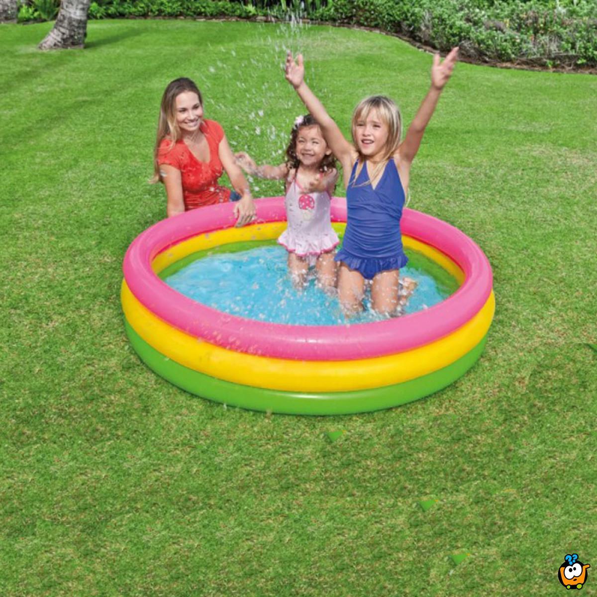 57107 Trobojni bebi bazen sa 3 prstena na naduvavanje