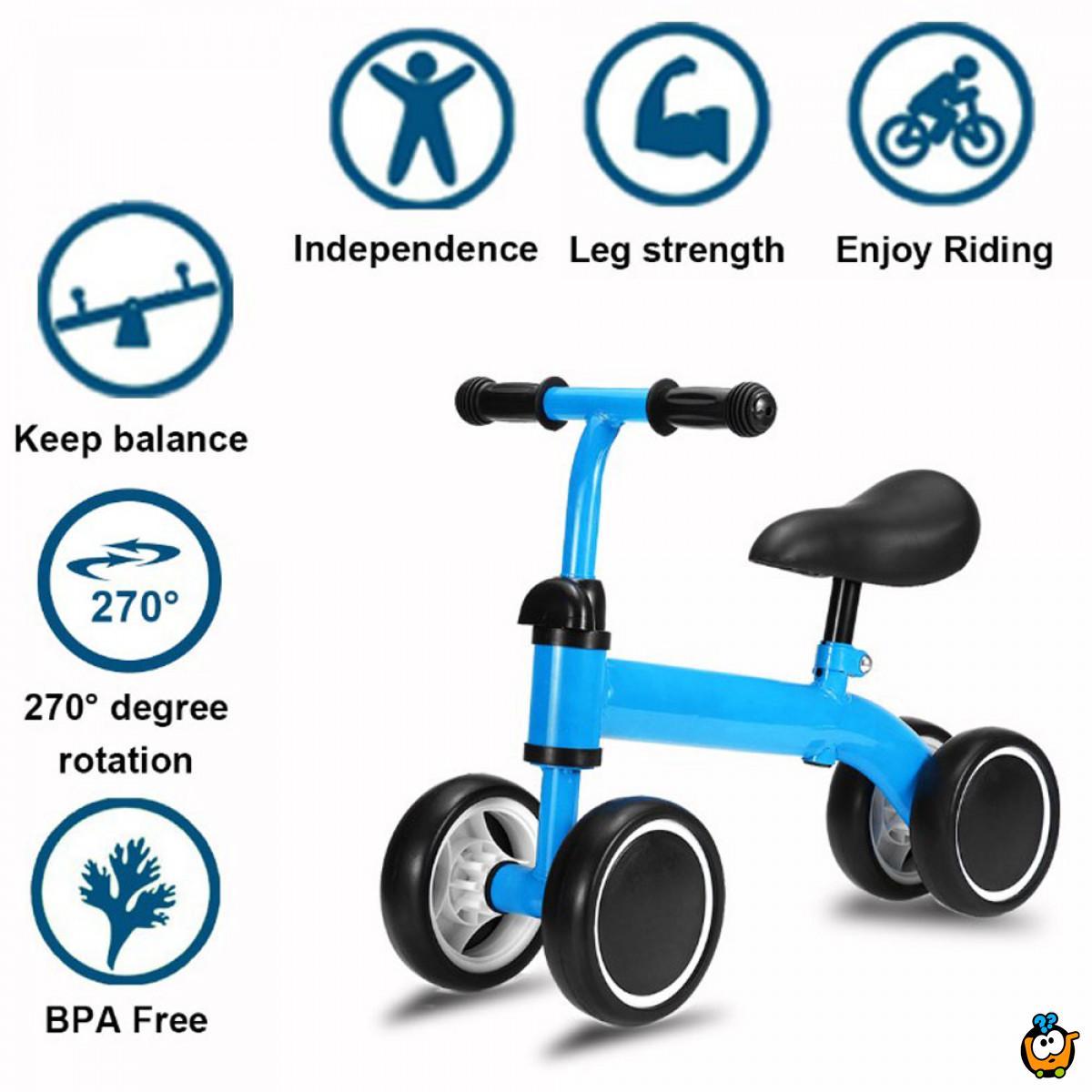 Bebi bicikl bez pedala na 4 točka