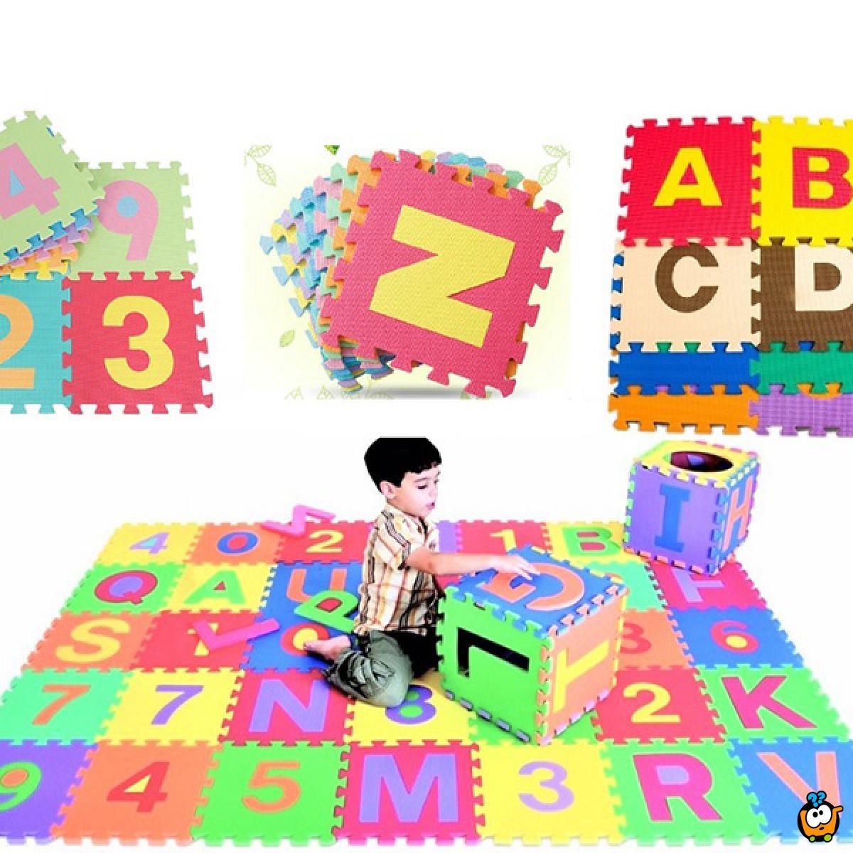 Dečije podne slagalice za igru - Brojevi i slova 10 komada 30x30 cm