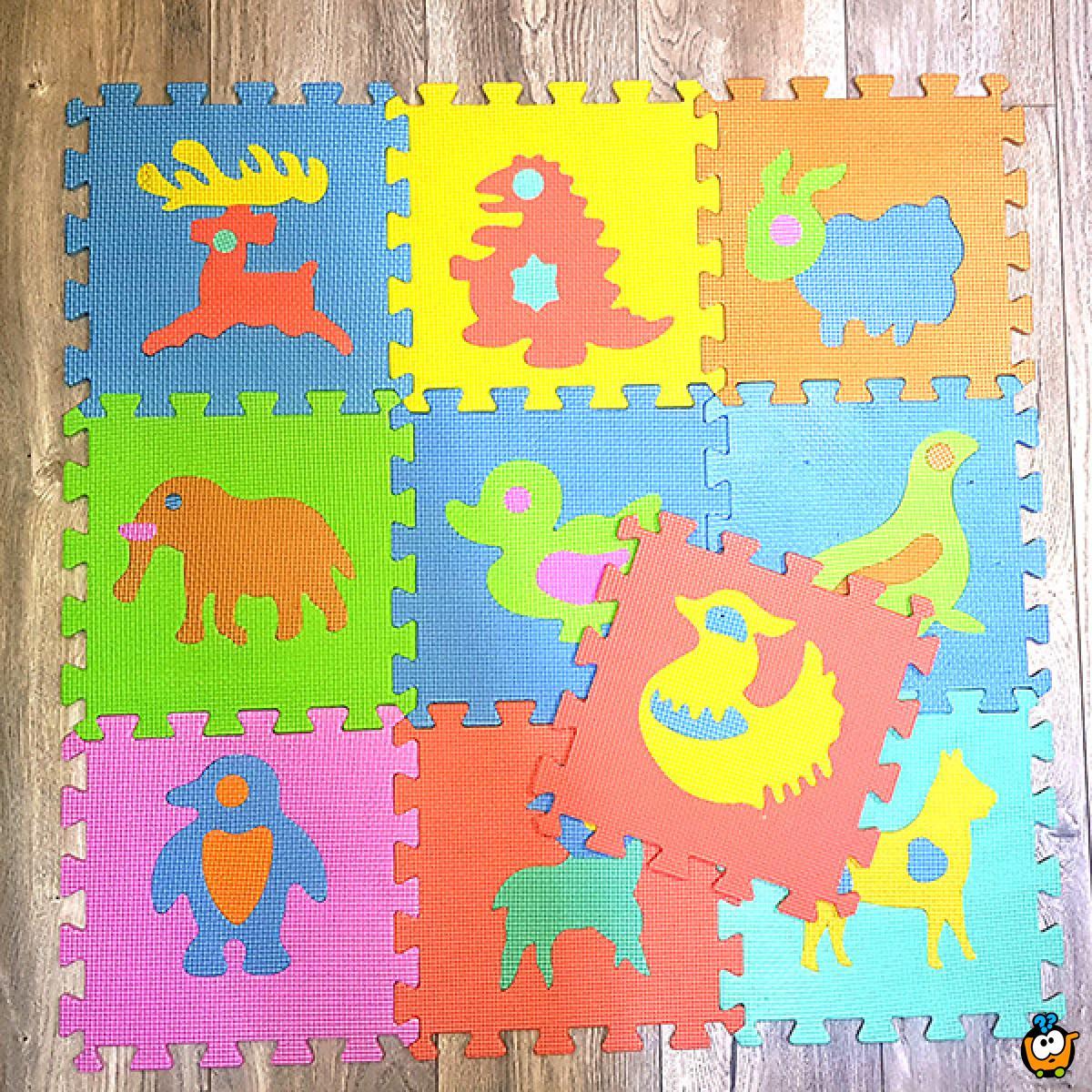 Dečije podne slagalice za igru - Životinjsko carstvo - 10 komada 30x30 cm